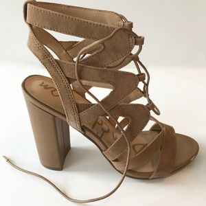 Sam Edelman Lace Up Gladiator Suede Heels